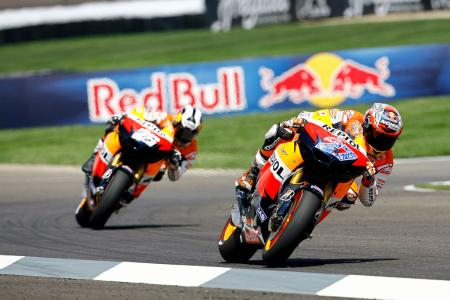 Casey Stoner and Dani Pedrosa had another dominating race weekend, finishing one-two at Indianapolis Motor Speedway. Photo by GEPA Pictures.