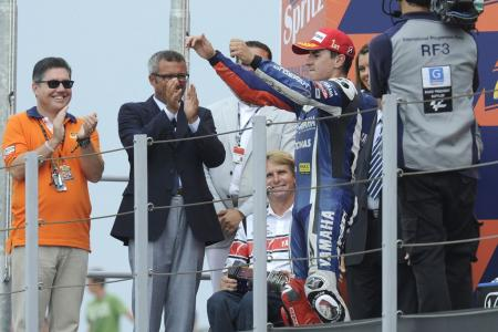 Jorge Lorenzo dedicated his victory to Wayne Rainey who made his first appearance at Misano since his career-ending crash at the the Italian circuit.