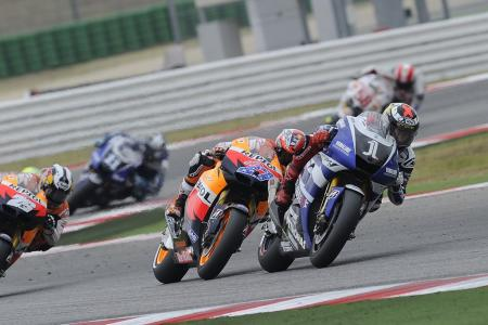 Jorge Lorenzo had Casey Stoner stalking him for most fo the race but managed to hang on for the much-needed win.