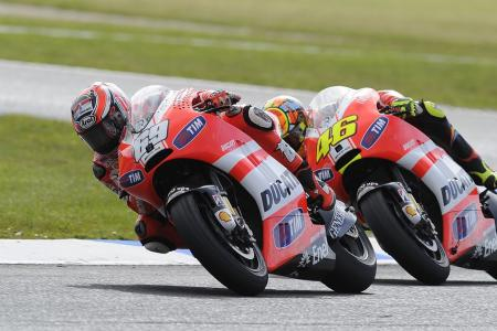 ... Meanwhile over at Casey Stoner's former team, things were less sunny for the Ducati squad.