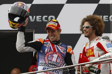 Marco Simoncelli finished a career best second place to join Casey Stoner on the podium.