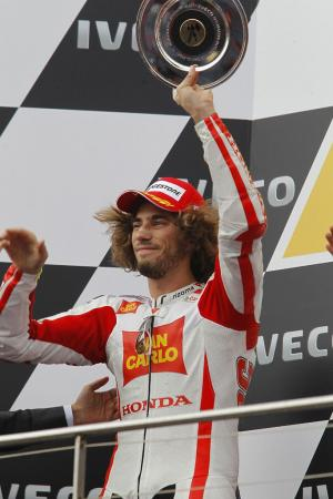 Marco Simoncelli celebrated his premiere class-best second place finish at the Phillip Island round.