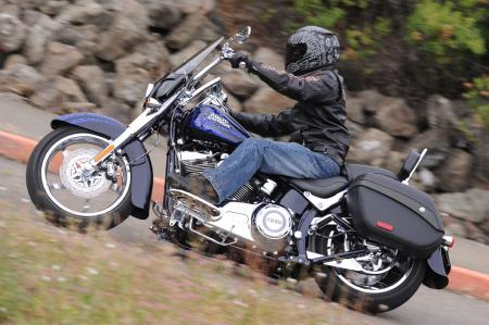 2012 Harley-Davidson CVO Softail Convertible blue action left 0449