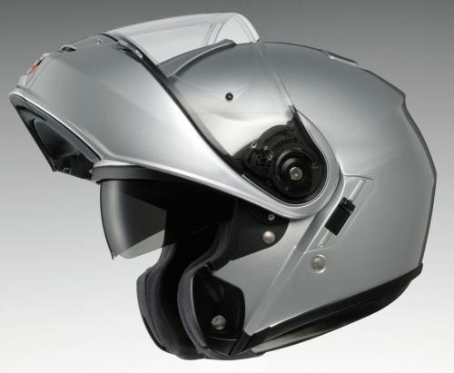 Shoei NEOTEC Silver Open Visor Down