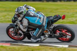 Racing Electric Motorcycles Left Turn