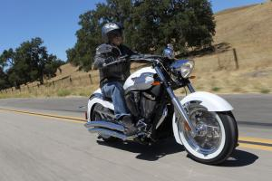 2013 Victory Boardwalk Pearl White Action