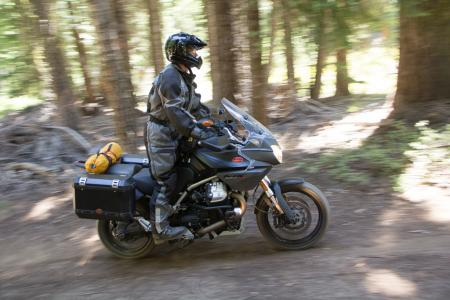 2012 Adventure Touring Shootout Moto Guzzi Stelvio Action Dirt