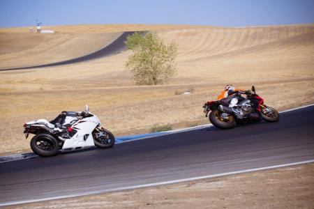 2012 Aprilia RSV4 Factory APRC vs. MV Agusta F4RR Corsacorta Lean Over