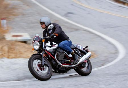 2013 Moto Guzzi V7 Racer Action Left