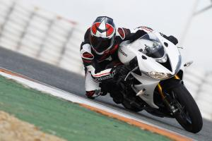 2013 Triumph Daytona 675R leaned over