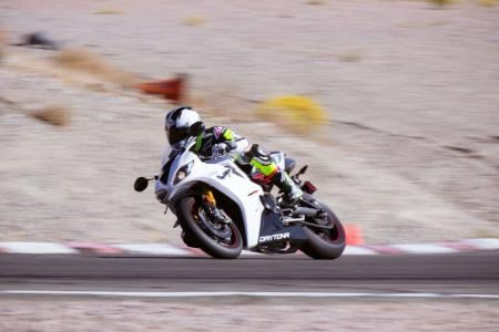 2012 Triumph Daytona 675R Leaned Over