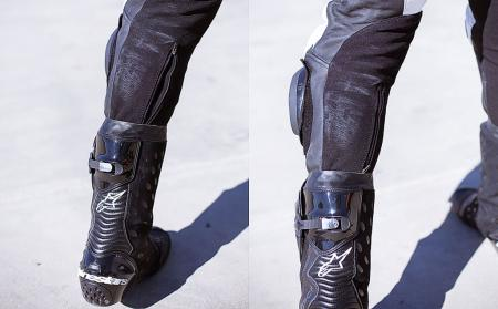 Alpinestars Atem Leathers Legs zipper open and closed