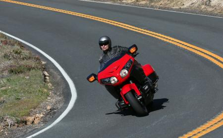 2013 Honda Gold Wing F6B Action Sweeping Curve Red