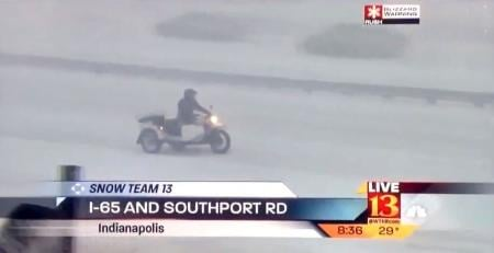 Rider in Indianapolis blizzard