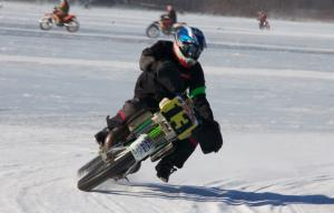 Motorcycle Ice Racing Action Front
