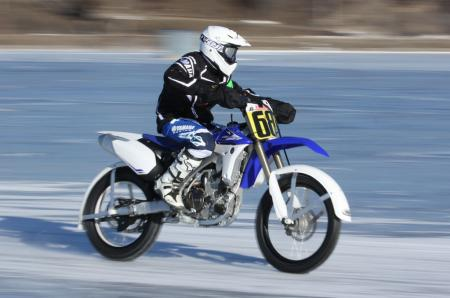 Motorcycle Ice Racing Action Right
