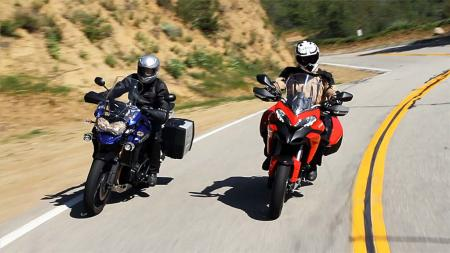 Ducati Multistrada 1200 S Touring vs. Triumph Explorer Action Front