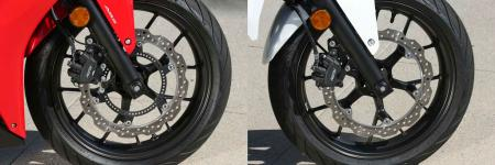 2013 Honda CBR500R and CB500F front wheels