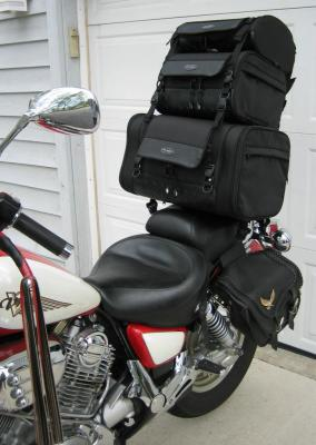 Bags mounted on pillion pad