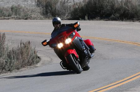 2013 Honda Gold Wing F6B Action Front Cornering Red