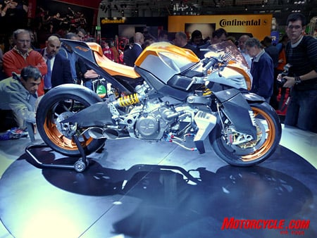 This concept bike from Aprilia uses a new 1200cc mill that the company developed. Wonder when we might see something similar in production?