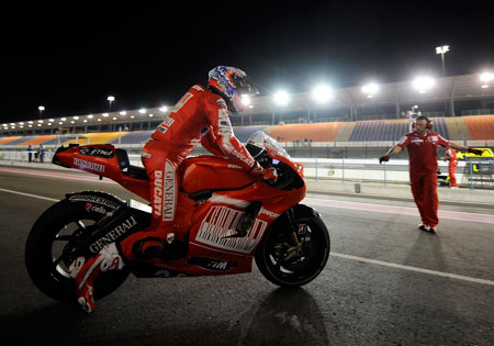 Casey Stoner has won three straight Qatar Grand Prix races and will look to win his fourth Sunday night.