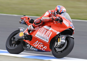 Casey Stoner says he was pretty happy with how the carbon fiber Desmosedici GP9 has performed so far.