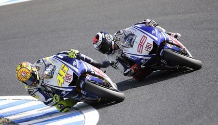 Valentino Rossi (left) and Jorge Lorenzo put Yamaha back at the top of the standings.