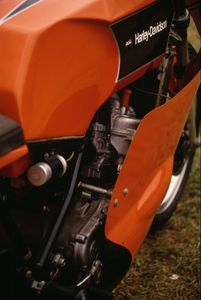Milwaukee noticed that the lightweight 238-245 lb. single cylinder Italian stallions often smoked the full-blooded American-made H-D Big Twin's on the street and track...