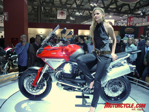 Yet another R1200GS killer? This (the bike not the girl!) is Moto Guzzi's Stelvio 1200, an obvious nod to the GS and adventure market. We're glad to see more of these bikes cropping up.