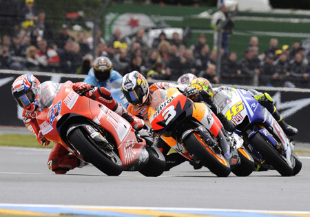 After the Le Mans race, Casey Stoner (left), Dani Pedrosa and Valentino Rossi all sit within nine points of leader Jorge Lorenzo.