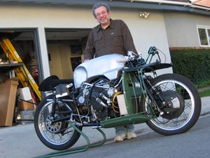 "Jeff jokes about his severely rare motorcycle. ""I see myself in Starbucks nursing a double latte sitting at a small table with two other chairs. The chairs are empty. I'm waiting for the two other members for the annual meeting of the Replica Moto Guzzi V-8 Owners Club... and they never show up!"""
