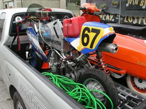 Barry's race bike. Lambrettas offer the most tuning potential, with real frames, forks and simple, durable motors.