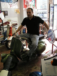 Barry on yet another scooter he'd like to aquire.