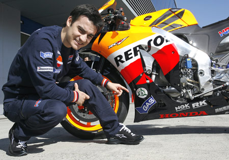 Honda released several images of Dani Pedrosa in this pose. Is that a smart idea for a guy with a bad hip?