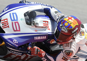 Jorge Lorenzo raced in the colors of his beloved FC Barcelona.