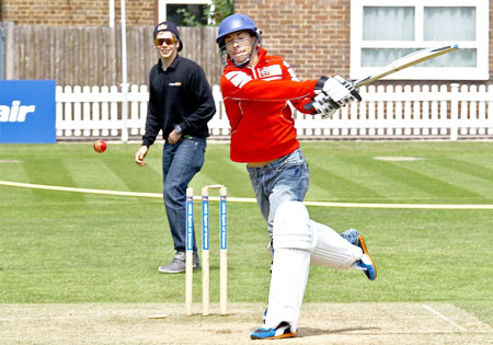 Nicky Hayden tried his hand at cricket in a PR event for the British Grand Prix.