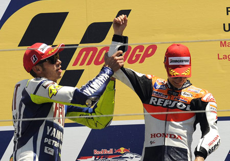 Somehow Valentino Rossi seemed happier about Dani Pedrosa's win than the Honda rider.