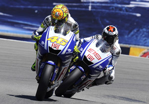 Valentino Rossi seemed energized after fighting off teammate Jorge Lorenzo.