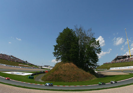 Sachsenring's iconic Omega Kurve is one of the few right turns on the circuit.