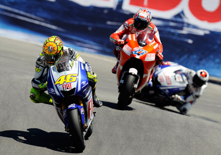 Valentino Rossi is still recovering from a broken leg but look for him to have another dazzling race at Laguna Seca.