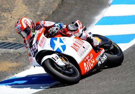 Nicky Hayden is the last American racer to win a MotoGP race, winning at Laguna Seca in 2006. Look for him to sport special American-themed livery like he did in last year's race.