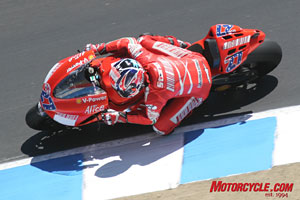 Young phenom Casey Stoner took his Ducati to the top step of the MotoGP podium.