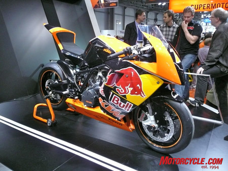 KTM�s long-awaited RC8 superbike finally sees production, now in a 1149cc size to fit new World Superbike regulations. Red Bull sponsorship is optional.