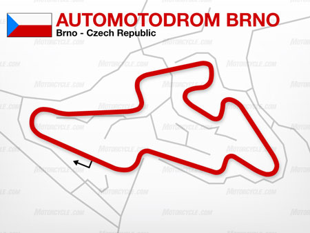 The Brno circuit is one of the wider Grand Prix tracks and features several elevation changes.