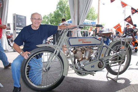 Ralph Gullickson poses proudly with his family's 1914 Harley Model 10-E. Photo courtesy of the Harley-Davidson Museum's Facebook page.