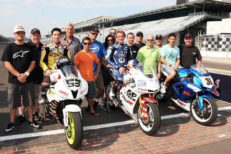 (Seated on motorcycles from left to right) JD Beach, Jake Gagne and Martin Cardenas are familiar names for American motorcycle racing fans. All three will compete in the Moto2 race at Indianapolis Motor Speedway.
