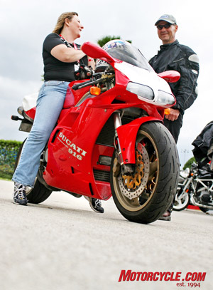 They're not just riding small cruisers nowadays. This Ducati lady rider was at the Desmo Days at Daytona Bike Week.