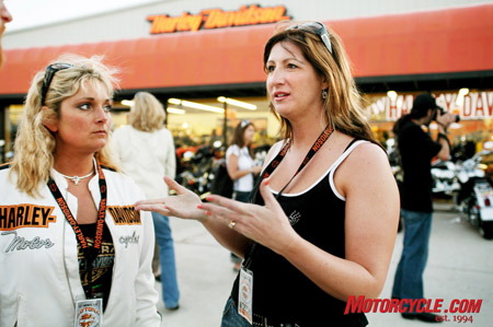 Shelli Strand (left) and Michelle Chedister, winners in Harley's Get Down to Daytona contest talk about how they inspired each other to ride motorcycles on their way to the 2008 Bike Week.