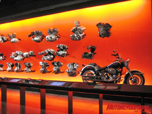 The Interactive Engine Room display is sure to be one of the most popular ones in the entire Museum. On one wall, all the various types of motors are displayed from 1903 to the present. There are also several touch screens that explain the engine specs and features, and you can push a button and actually hear what the motor sounds like when running. In the same exhibit, you can see how the single crankpin motor works in a cut-away display and how the transmission puts power to the rear wheel.